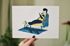 """Il est temps de dévoiler notre carte de Janvier ! Illustrée par @g_o_n_o_h """"Afternoon on Paris"""" représente bien notre humeur du moment l'envie de rester au chaud à bouquiner... On adore et vous ?  #illustration #postcard #print"""