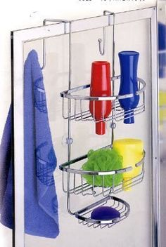 """Over-the-Door Chrome Shower Caddy (Chrome) (22.25""""h x 12""""w x 10.75""""d) by Better Sleep. $27.99. Two wide shelves feature. Color: Chrome. Size: 22.25""""h x 12""""w x 10.75""""d. Mounts over the shower door providing 2 hooks outside of the door and full storage inside.. Top bracket will fit over shower door or frame of 2 1/2"""" or less.. Maximize your shower storage space with this clever chrome Dual Shower Caddy - designed so you can store bath necessities on both sides of the..."""