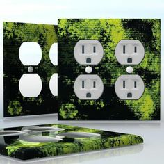 DIY Do It Yourself Home Decor - Easy to apply wall plate wraps | Forest Canopy  Subtle colors of green  wallplate skin sticker for 2 Gang Wall Socket Duplex Receptacle | On SALE now only $4.95