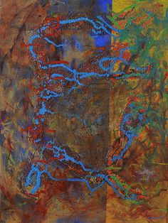 Title: Mind Storm Artist: Atousa Raissyan Medium: Painting - Mixed Media On Canvas