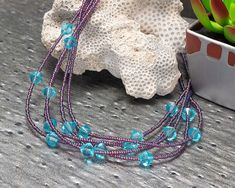 Multi-strand Necklace Beaded Necklace Purple Blue Ultra