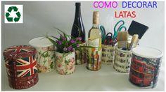 COMO DECORAR LATAS CON LA TÉCNICA DECOUPAGE (VERSIÓN FÁCIL) Decoupage, Projects, Vintage, Home Decor, Youtube, Videos, Home, Jars, Bottles