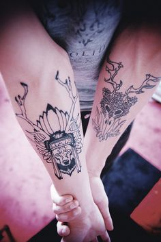 wolf & antlers by 1337tattoos
