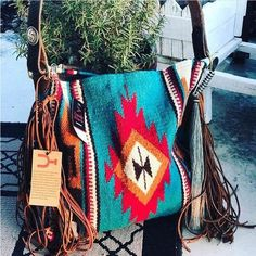 Santa Fe Vintage Saddle Blanket & Leather Fringe Handbag