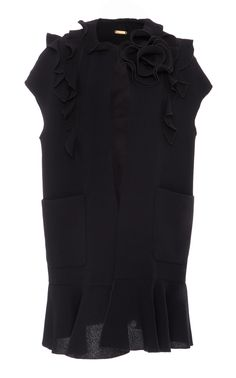 Ruffled Vest With Floral Detail by AMELIA TORO for Preorder on Moda Operandi