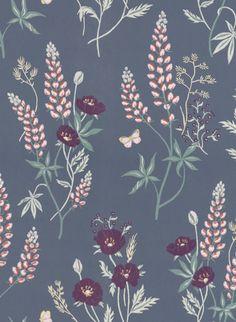 Blumentapete Emma von Sandberg - Dark Grey