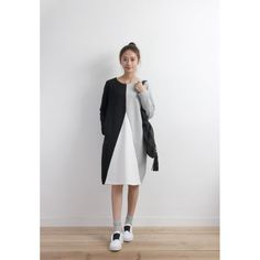 Colorblock Sweat Dress (SPDS03457BLK/GRY)