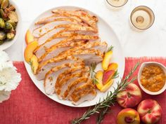 Get Roasted Turkey Breast with Peach Rosemary Glaze Recipe from Food Network