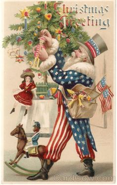 Rare Uncle Sam Hold-To-Light Santa Claus Hold To Light