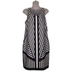 HP J.Taylor Sz 4 Black White Stripe Dress J.Taylor Sz 4 Black White Stripe Sleeveless Dress NWT. Bust 34-36 Knee lengthShift dressPolyesterKeyhole back button closure J. Taylor Dresses