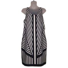 J.Taylor Sz 4 Black White Stripe Sleeveless Dress J.Taylor Sz 4 Black White Stripe Sleeveless Dress NWT. Bust 34-36 Knee lengthShift dressPolyesterKeyhole back button closure J. Taylor Dresses
