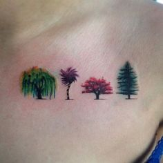 Did these four teeny little watercolor trees this week! Each one is no bigger than a quarter #tree #trees #treetattoo #watercolortattoo #watercolortrees #weepingwillowtattoo #weepingwillow #lorax #truffalatattoo #truffala #japanesemaple #pine #pinetreetattoo #tinytattoo #chicagotattoo