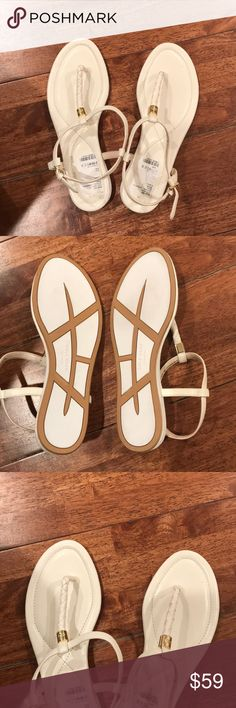 Cole Haan White Sandals with gold detail New with tags, flat sandals Cole Haan Shoes Sandals