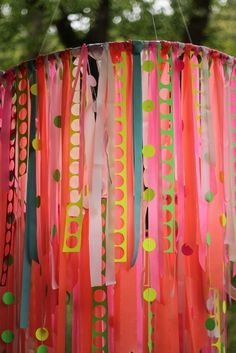 ribbon chandelier- hula hoops aren& just for shakin your hips anymore. This festive party decor could be hung anywhere. I think they would be especially cool hanging from an arbor at an outdoor event. Hula Hoop Chandelier, Ribbon Chandelier, Fun Crafts, Diy And Crafts, Crafts For Kids, Arts And Crafts, Craft Projects, Projects To Try, Diy Ribbon