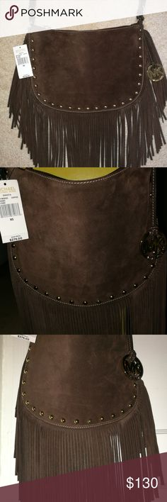 """BNWT Michael Kors suede leather """"HOBO"""" bag/purse """"Coffee"""" brown 100% suede leather with gold embellishments.  It's an absolutely beautiful bag and I hate to part with it but I have so many MK bags (it's getting to be a problem 😌).  So, alas, I come here in hopes of finding this lovely arm candy (let's face it, this bag is more attractive than most men and deserves your arm over them 😉) a good home and new owner.. parting is such sweet sorrow 😩😢. Michael Kors Bags Hobos"""