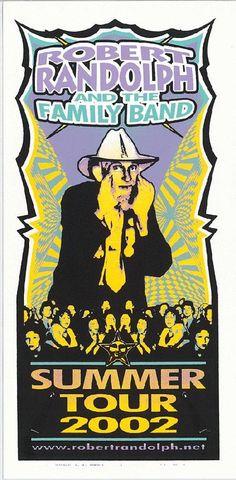 Original silkscreen concert handbill for Robert Randolph and the Family Band  Summer Tour from 2002. 4.5 x 8.5 inches on card stock. Art by…