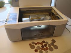 Coin Tumbler by Liquidhandwash -- Hi everyone Im new here I dont know what im doing so please tell me if Ive put this in the wrong place. This is my coin tumbler made from an old printer. works well and cleans small parts and. Printer Hacks, Metal Detectors For Kids, Underwater Metal Detector, Rock Tumbling, Old Coins, Diy Art, Repurposed, Diys, Diy Crafts