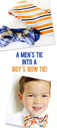 DIY fashion for boys. Make a Bow Tie From a Mens Necktie! Find the free sewing tutorial at howdoesshe.com