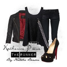 """Katherine Pierce: The Runner""--My Vampire Diaries Collection Vampire Diaries Costume, Vampire Diaries Fashion, Fashion Tv, Autumn Fashion, Fashion Outfits, Womens Fashion, Night Outfits, Cool Outfits, Casual Outfits"