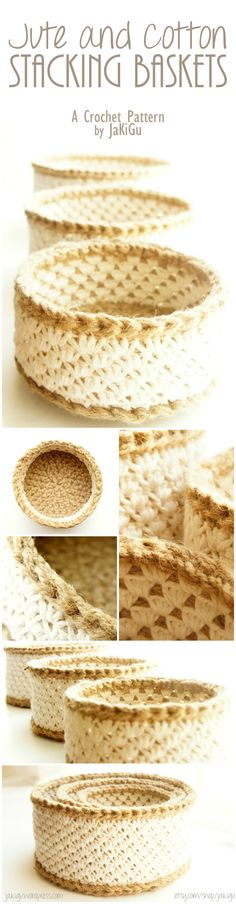 Stacking Crochet Baskets. Lacey on the outside, perfectly geometric on the inside. Beautifully unique, sturdy, functional, begging-to-be-used baskets. All natural materials: jute and cotton.