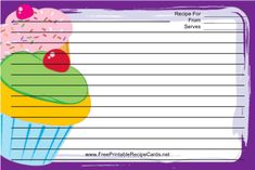 This Cupcakes Purple Recipe Card features several colorfully decorated cupcakes, each topped with a red cherry, with a purple border. Free to download and print