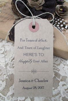 Hankie Tags - Wedding Decor Tags - Happy Tears Wedding Favors - Handkerchief Tags - Tears of Love - Personalised by TheIvoryBow on Etsy Rustic Wedding Favors, Gifts For Wedding Party, Diy Wedding, Dream Wedding, Fantasy Wedding, Wedding Ideas, Wedding 2017, Wedding Vows, Wedding Bells