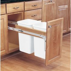 18 in. H x 12 in. W x 25 in. D Double 27 Qt. Pull-Out Wood Top Mount Waste Container for 1.5 in. Face Frame Cabinet, White