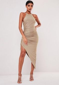 Sofia Richie x Missguided Taupe Slinky Ruched Racer Back Midi Dress. Order today & shop it like it's hot at Missguided. Sofia Richie, Midi Dress Outfit, Casual Dress Outfits, Fashion Outfits, Women's Fashion, Celebrity Style Casual, Robes Midi, Jumpsuit Pattern, Cute Summer Dresses