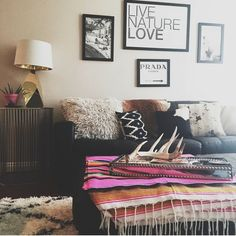 Living room inspiration! The antlers, mexican blanket, and faux fur pillows are what I love about this space!