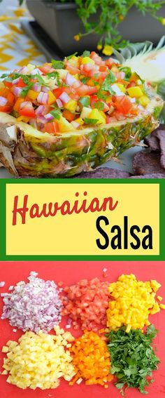 This is the perfect dish to take to a party or any family gathering. It is simple and easy to prepare. Bonus is you have no dishes to clean up after. You can just throw away the bowl. | hawaiian salsa recipe | homemade salsa recipe | salsa recipe ideas |