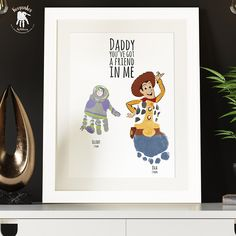 Buzz and Woody personalised handprint and footprint gift for Dad
