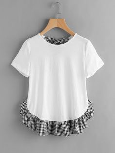 Online shopping for Checkered Bow Back And Ruffle Trim Slub T-shirt from a great selection of women's fashion clothing & more at MakeMeChic.COM.