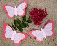 Paper & Burlap Butterflies / Large Coral Butterfly / 3D Wall Art / Butterfly Baby Shower / Girl Nursery Decor / Paper Butterflies / Set of 3