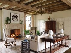 Tudor Style New Old House. John Milner Architects and KingsHaven create a home that expresses Lauren Wylonis's love of England's medieval and Arts and Crafts architecture. Craftsman Kitchen, Craftsman Style, Home Interior Design, Interior Styling, Tudor Decor, House Journal, Tudor Style Homes, Built In Bookcase, Building A New Home