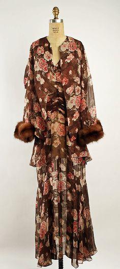 Ensemble  Callot Soeurs (French, active 1895–1937)  Date: ca. 1929 Culture: French Medium: silk, fur