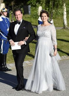 Princess Madeleine lovely in white with husband, Chris. Pre-wedding dinner for Prince Carl & Sophia