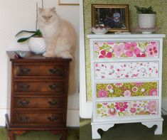 Furniture updated with Cressida Carr designs Furniture Update, Garden Painting, Paintings, Flower, Antiques, Gallery, Design, Home Decor, Art