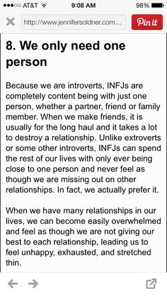 I'm an ISFJ, but most of this is true of me although I do try to have relationships with more than 1 or 2 people.