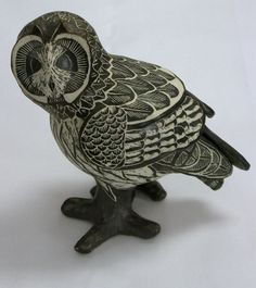 Tim Christensen porcelain owl. Ceramic Birds, Ceramic Decor, Animal Sculptures, Lion Sculpture, Clay Birds, Effigy, Sgraffito, Owl Art, Falcons