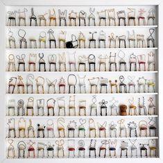 "Joanne Tinker, ""Please Take Your Seat,"" 70 x 70 cm, luxury wine tops"