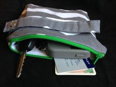 Water Proof-Resistant Cell Phone Clutch in Chevron-Grey and Green