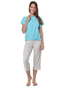 RAIKOU Damen VISKOSE Shirt + 3/4 Hose Schlafanzug Sommer Pyjama Set Nachtwäsche Mit Volants Und Elastischem Bund Trends, Bermuda Shorts, Capri Pants, Dressing, Shirts, Street Style, Style Inspiration, Fashion, Pajamas