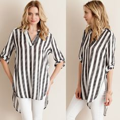 Striped Boyfriend Tunic Shirt Oversized striped boyfriend tunic shirt. Available in black and blue. This listing is for the BLACK. Brand new. Runs loose. Absolutely NO TRADES. Bare Anthology Tops Tunics