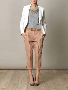 #whatiown: Zara pants, white blazer, light grey top, golden necklace and black heels