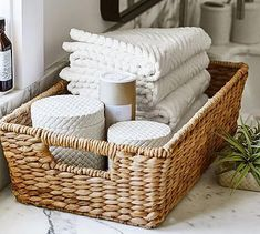 Savannah Underbed Basket, Small At Pottery Barn - Organization - Baskets Under Bed Storage Containers, Storage Baskets, Towel Storage, Home Organization, Small Bathroom, Bathrooms, Bathroom Baskets, Bathroom Rugs, Basket Weaving