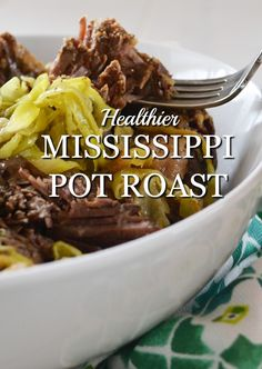 A healthier variation of the popular Mississippi Pot Roast slow cooker recipe. Equally as flavorful, equally as easy as the original.