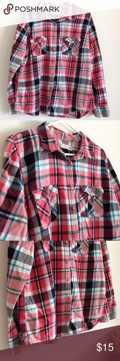 "Plaid Long Sleeve Colors are coral, turquoise, white, black and peach. Two pockets. Button. Soft and cozy. Worn few times - no stains or holes. Measurement laying flat: bust: 22.5"" length: 26"" 100% cotton. Faded Glory Tops Button Down Shirts"
