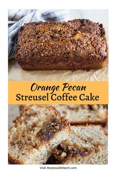 Sweet Orange Pecan Streusel Coffee Cake with warm cinnamon, crunchy streusel in soft sweet bread can be made ahead and is the perfect Christmas morning treat! Best Coffee Cake Recipe, Streusel Coffee Cake, Artisan Bread, Christmas Morning, Savoury Dishes, Sweet Bread, Pecan, Lamb Pasta, Cake Recipes