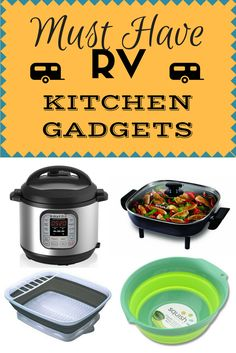 Top RV Kitchen & Cooking Gadgets - A list of the top must have kitchen gadgets for full-time RV living. Cooking in your RV can be a pain, but here are a list of the ways to combat your propane usage, and still save space! Auto Camping, Rv Camping Tips, Outdoor Camping, Camping Items, Camping Essentials, Camping Stuff, Family Camping, Camping Tools, Camping Cooking