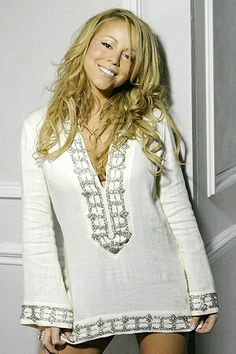 """Mariah Carey in her """"We Belong Together"""" video. Tory Burch White Beaded Tunic"""
